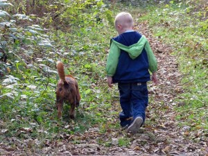 Scooter the dog with his boy in the woods